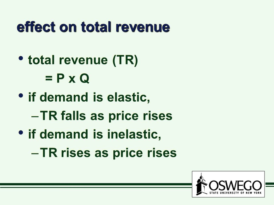 effect on total revenue total revenue (TR) = P x Q if demand is elastic, –TR falls as price rises if demand is inelastic, –TR rises as price rises tot