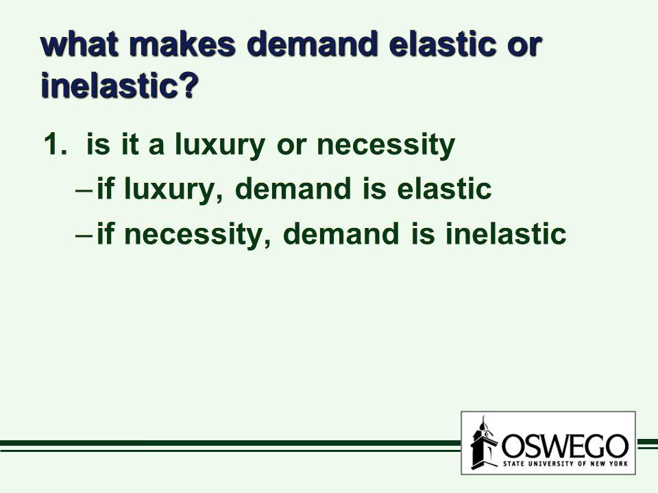 what makes demand elastic or inelastic. 1.