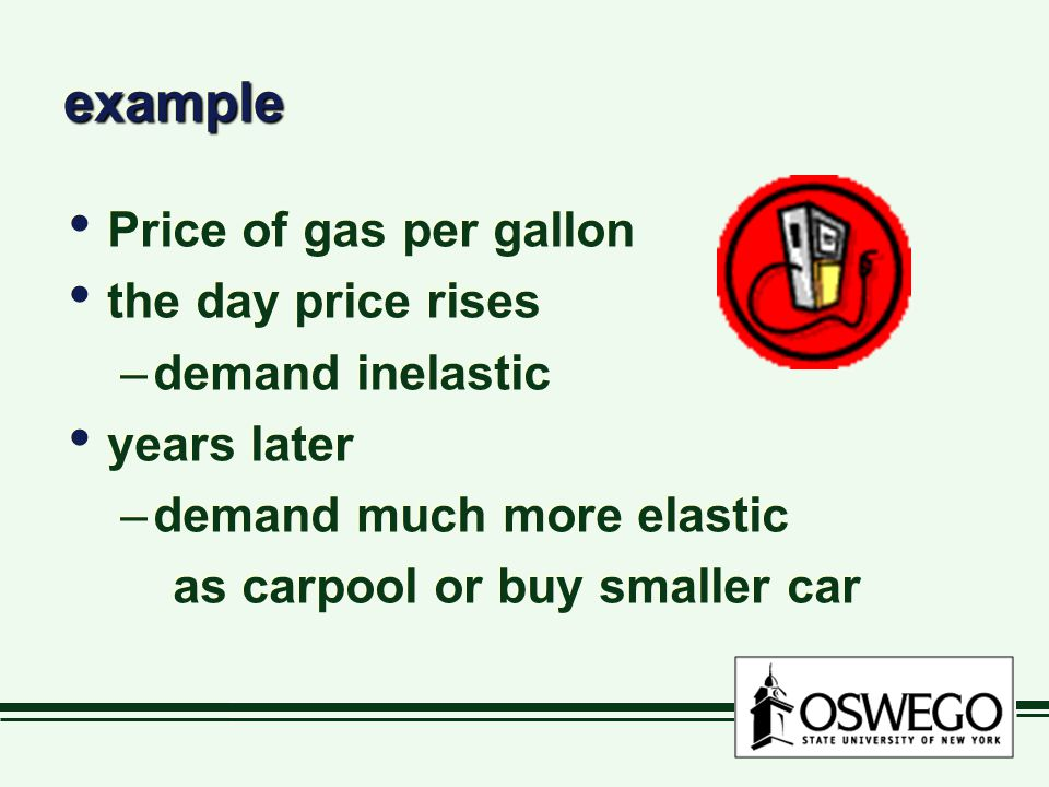 exampleexample Price of gas per gallon the day price rises –demand inelastic years later –demand much more elastic as carpool or buy smaller car Price