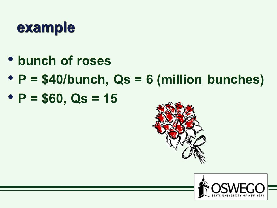 exampleexample bunch of roses P = $40/bunch, Qs = 6 (million bunches) P = $60, Qs = 15 bunch of roses P = $40/bunch, Qs = 6 (million bunches) P = $60, Qs = 15