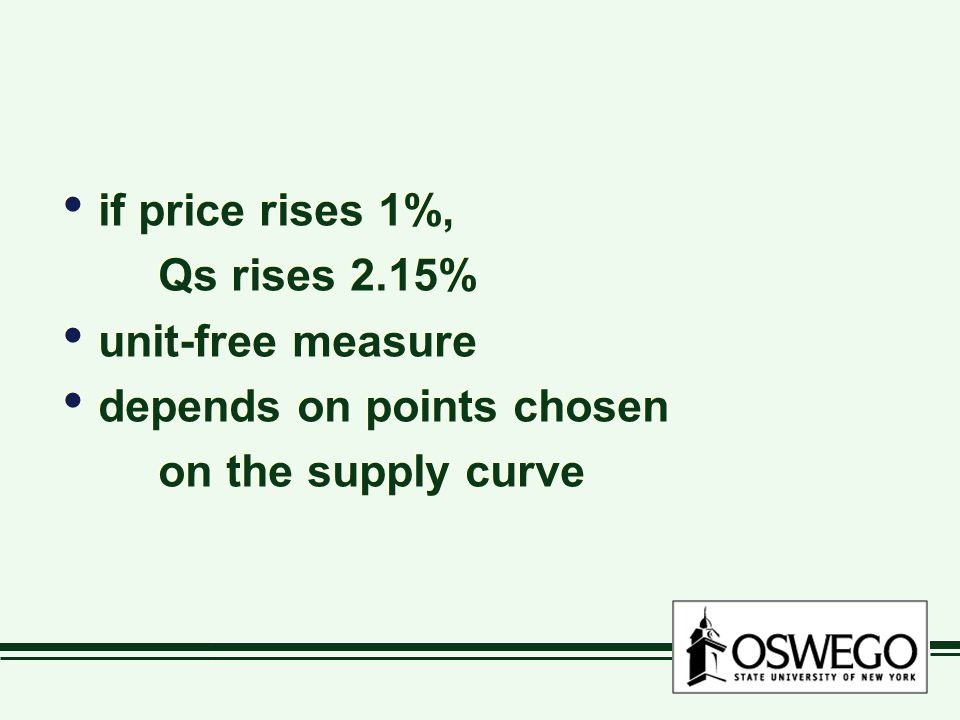 if price rises 1%, Qs rises 2.15% unit-free measure depends on points chosen on the supply curve if price rises 1%, Qs rises 2.15% unit-free measure depends on points chosen on the supply curve