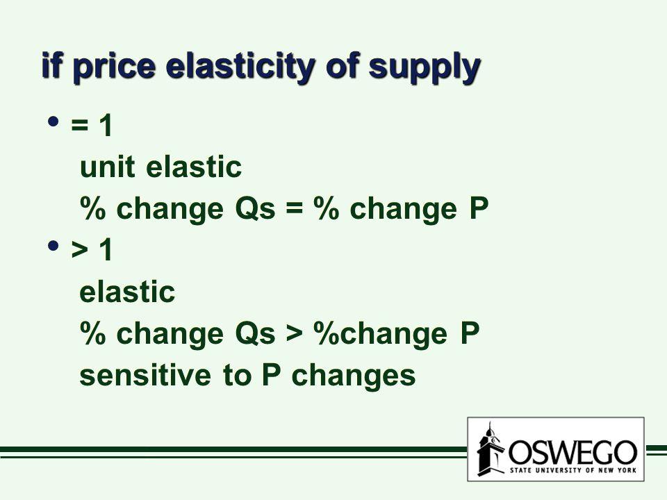 if price elasticity of supply = 1 unit elastic % change Qs = % change P > 1 elastic % change Qs > %change P sensitive to P changes = 1 unit elastic % change Qs = % change P > 1 elastic % change Qs > %change P sensitive to P changes