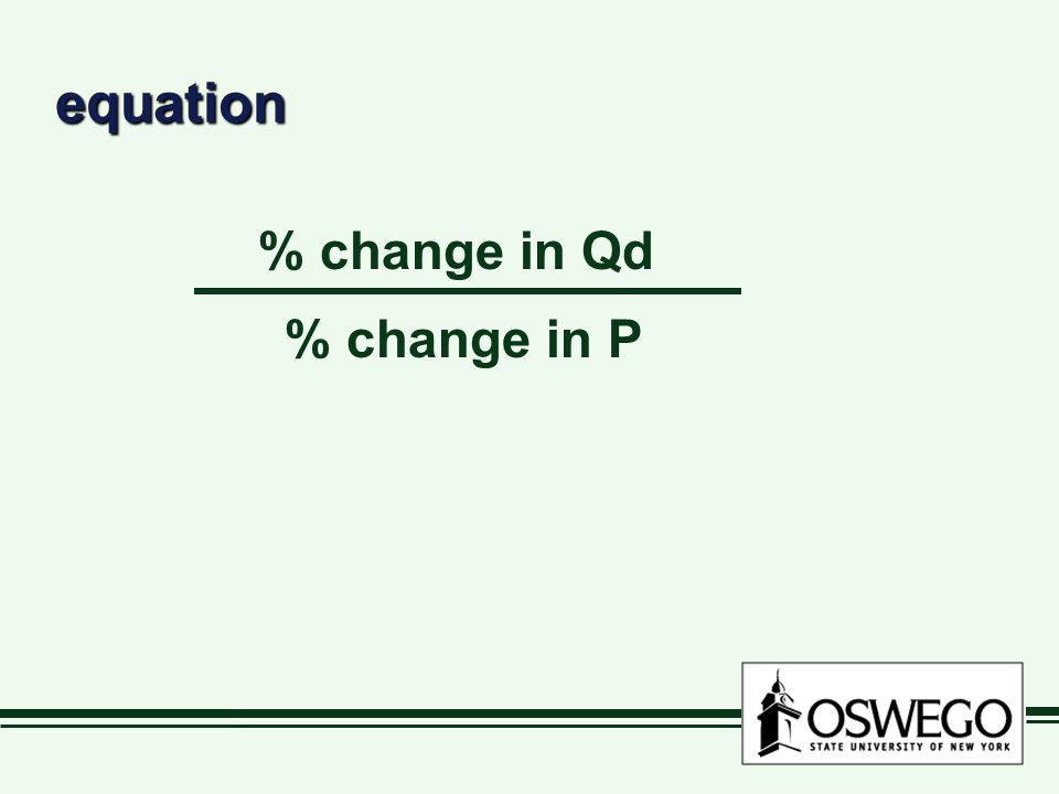 equationequation % change in Qd % change in P