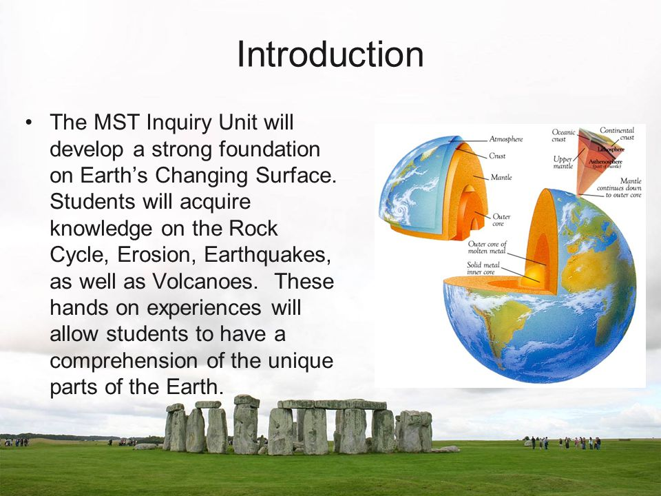 Introduction The MST Inquiry Unit will develop a strong foundation on Earth's Changing Surface.