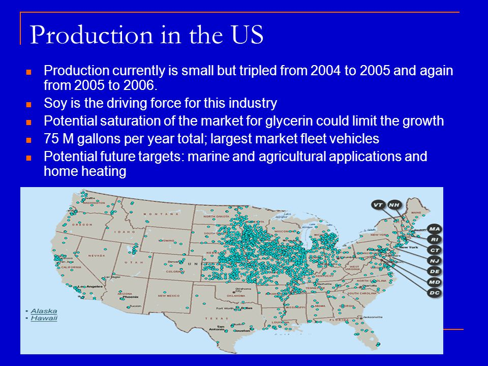 Production in the US Production currently is small but tripled from 2004 to 2005 and again from 2005 to 2006. Soy is the driving force for this indust