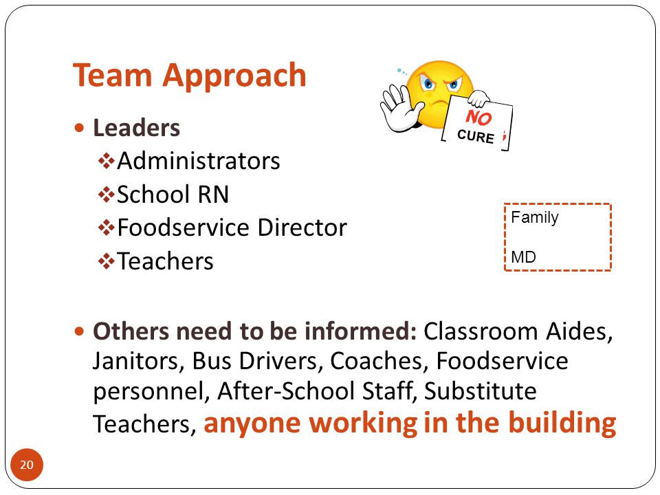 Team Approach 20 Leaders  Administrators  School RN  Foodservice Director  Teachers Others need to be informed: Classroom Aides, Janitors, Bus Dri