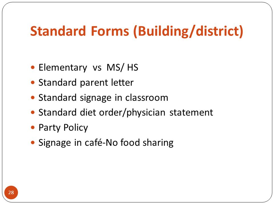 Standard Forms (Building/district) Elementary vs MS/ HS Standard parent letter Standard signage in classroom Standard diet order/physician statement P