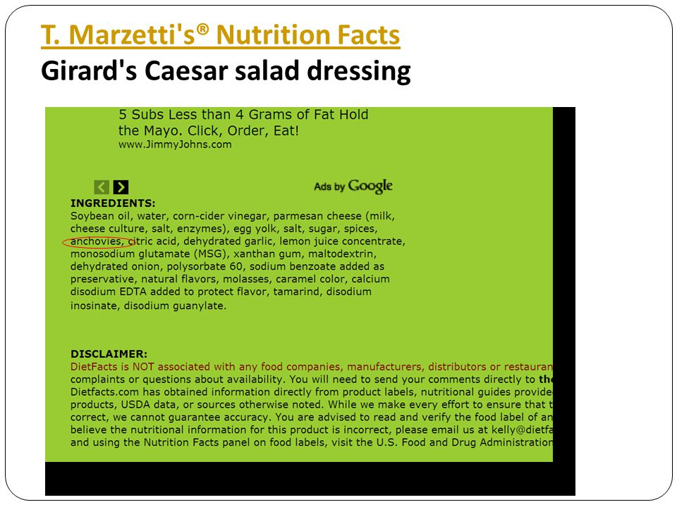 T. Marzetti's® Nutrition Facts T. Marzetti's® Nutrition Facts Girard's Caesar salad dressing