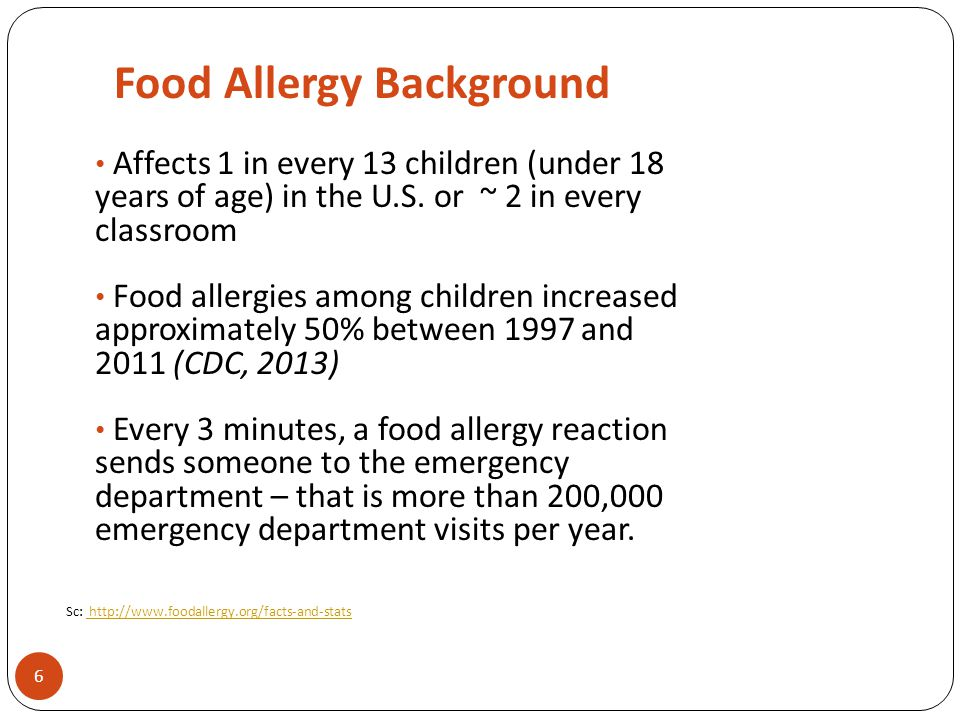 Food Allergy Background Affects 1 in every 13 children (under 18 years of age) in the U.S. or ~ 2 in every classroom Food allergies among children inc