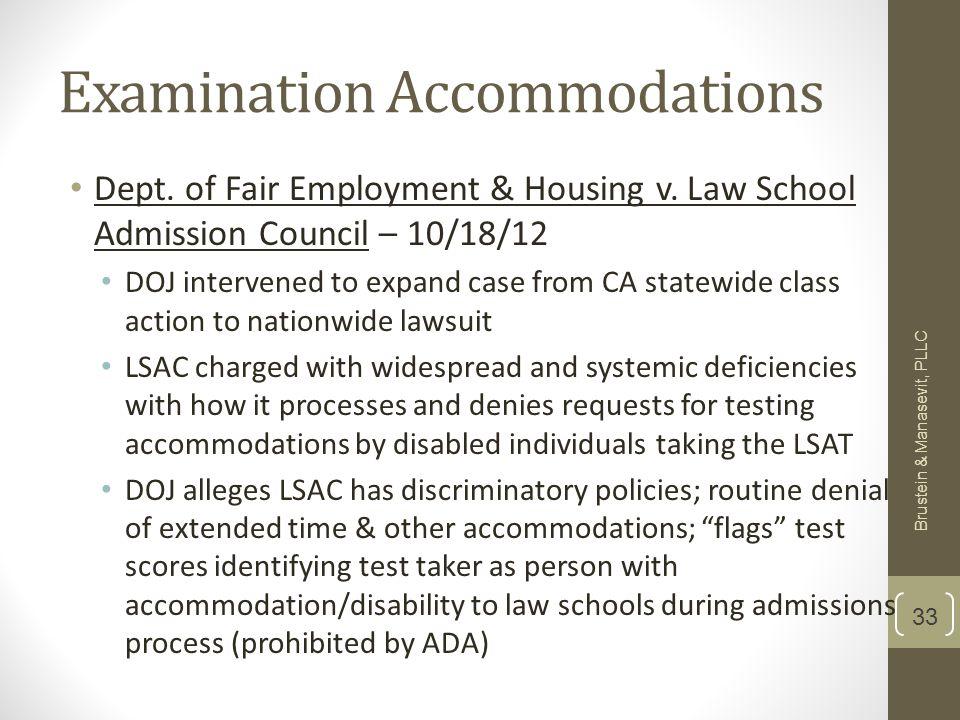Examination Accommodations Dept. of Fair Employment & Housing v.