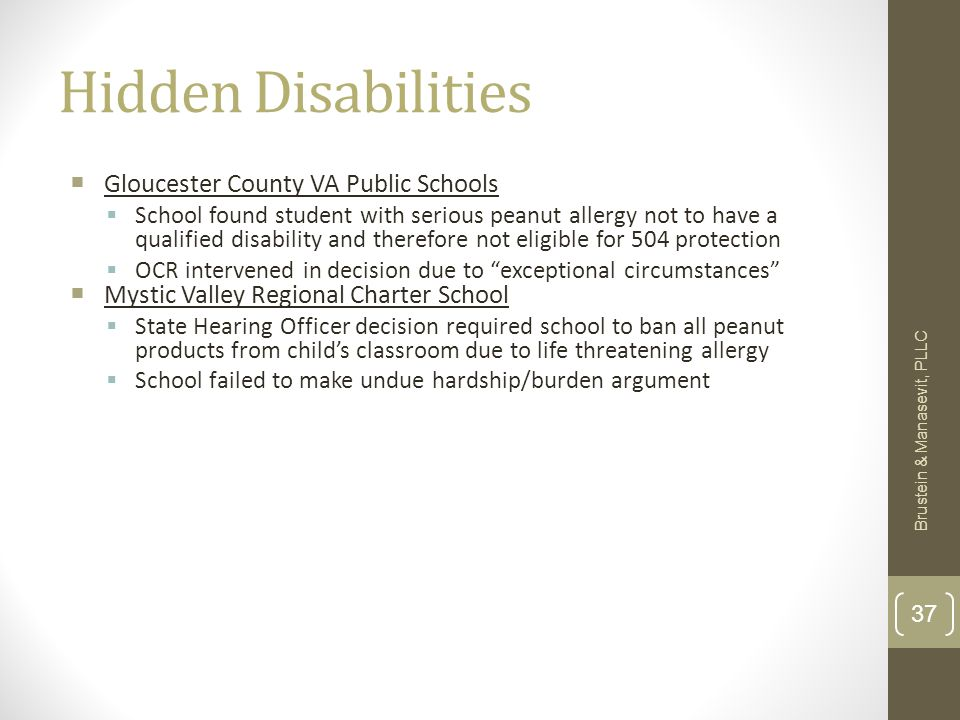 Hidden Disabilities  Gloucester County VA Public Schools  School found student with serious peanut allergy not to have a qualified disability and th