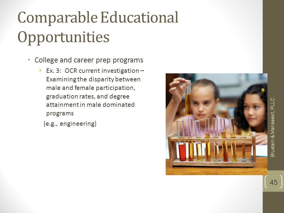 Comparable Educational Opportunities College and career prep programs ▪ Ex.