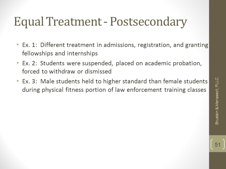 Equal Treatment - Postsecondary Ex.