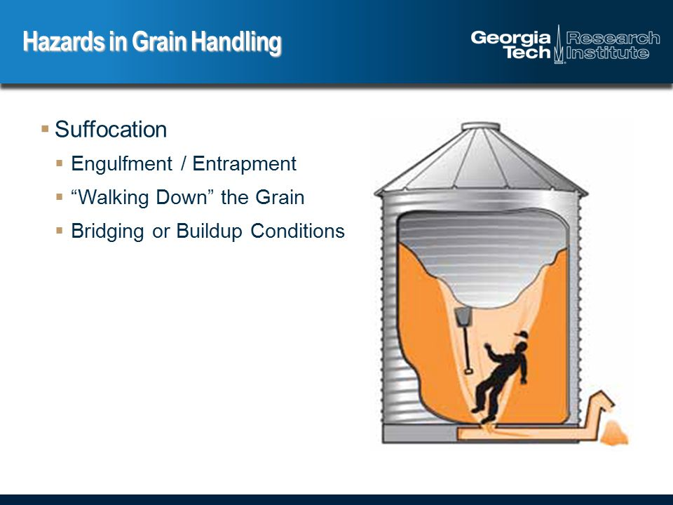  Falls  Walls and floor openings  Unguarded catwalks  Platforms  Ladders Hazards in Grain Handling