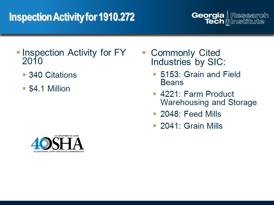  Increasing Inspections of Grain Operations  300 inspections in FY 2010  75% had OSHA violations  Publications  Notification Letters to 13,000 worksites  Updated Grain Handling Safety and Health Topics webpages  New fact sheet, wallet card  Enforcement  Haasbach/Hillsdale Case  3 fatalities, 2 teenager in entrapment incident  $1,352,125 in fines OSHA Update