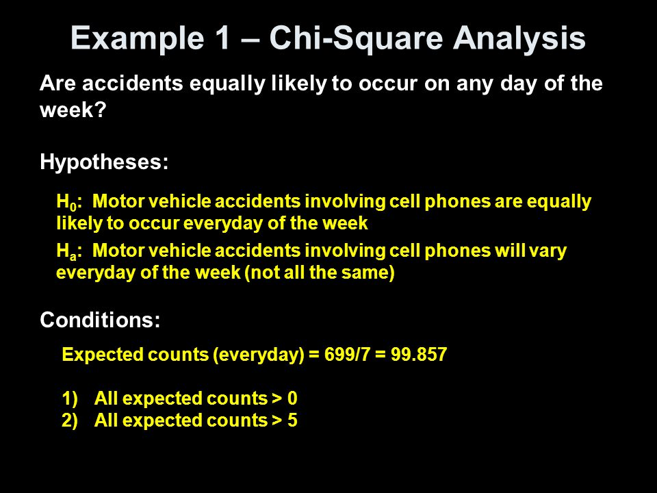 Example 1 – Chi-Square Analysis Are accidents equally likely to occur on any day of the week.