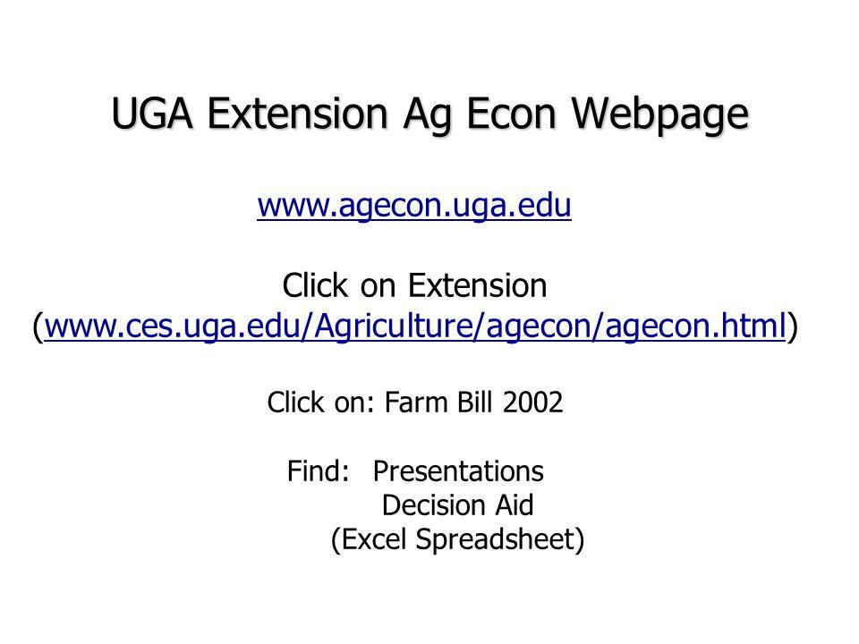 UGA Extension Ag Econ Webpage www.agecon.uga.edu Click on Extension (www.ces.uga.edu/Agriculture/agecon/agecon.html)www.ces.uga.edu/Agriculture/agecon