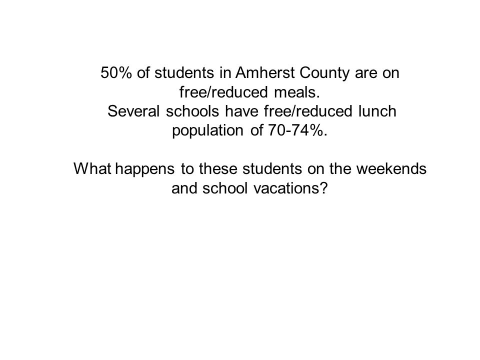 50% of students in Amherst County are on free/reduced meals.