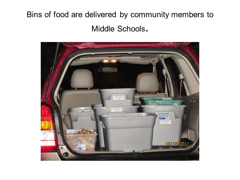 Bins of food are delivered by community members to Middle Schools.