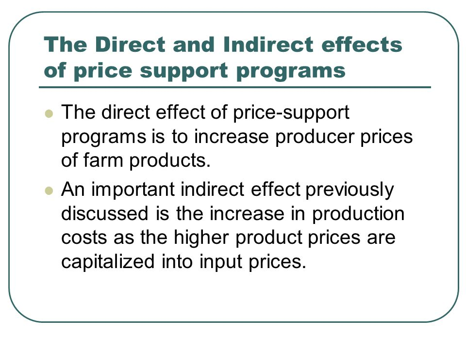 The Direct and Indirect effects of price support programs The direct effect of price-support programs is to increase producer prices of farm products.