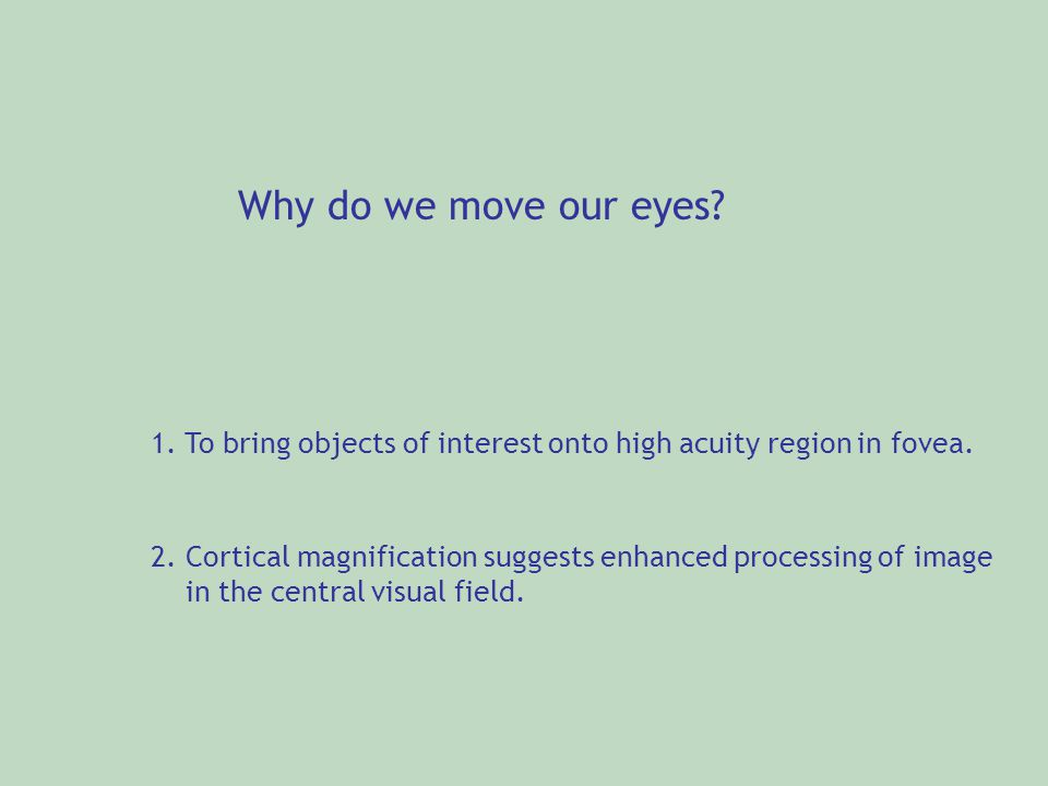 Why do we move our eyes? 1. To bring objects of interest onto high acuity region in fovea. 2. Cortical magnification suggests enhanced processing of i