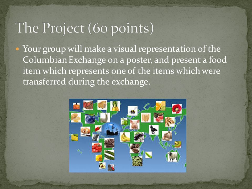 Your group will make a visual representation of the Columbian Exchange on a poster, and present a food item which represents one of the items which were transferred during the exchange.