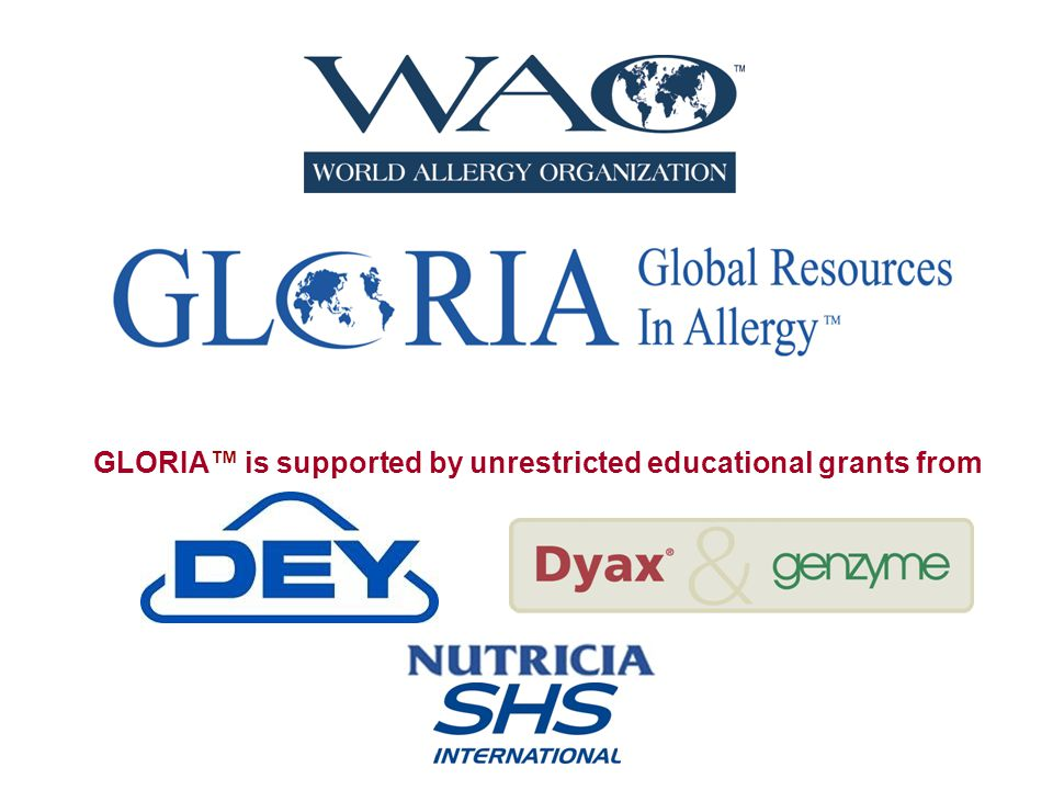 GLORIA™ is supported by unrestricted educational grants from