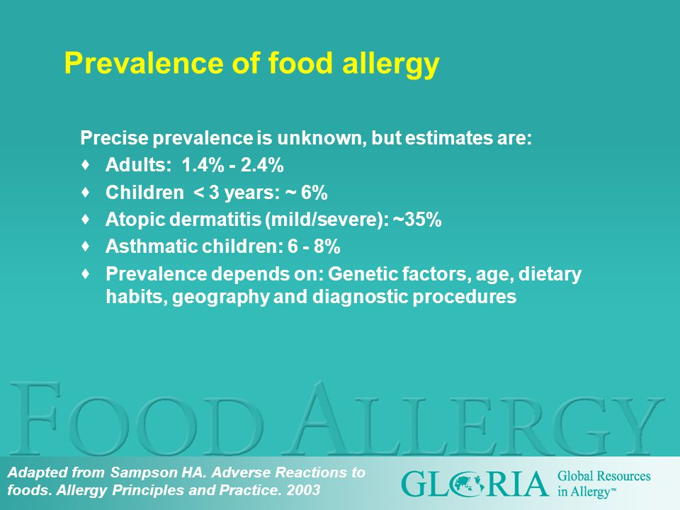 Precise prevalence is unknown, but estimates are:  Adults: 1.4% - 2.4%  Children < 3 years: ~ 6%  Atopic dermatitis (mild/severe): ~35%  Asthmatic children: 6 - 8%  Prevalence depends on: Genetic factors, age, dietary habits, geography and diagnostic procedures Prevalence of food allergy Adapted from Sampson HA.
