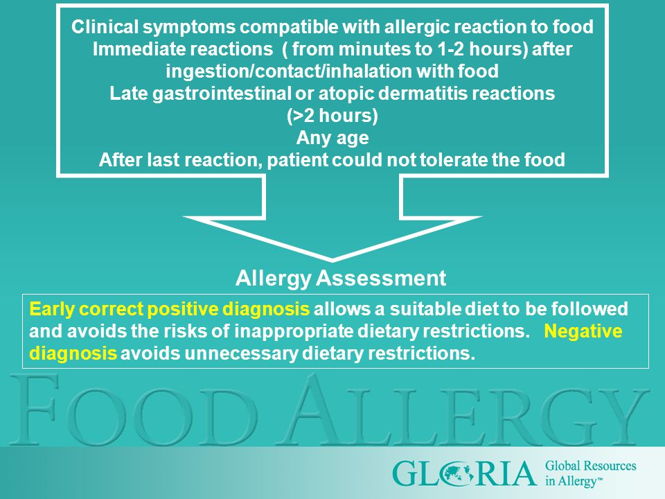 Clinical symptoms compatible with allergic reaction to food Immediate reactions ( from minutes to 1-2 hours) after ingestion/contact/inhalation with food Late gastrointestinal or atopic dermatitis reactions (>2 hours) Any age After last reaction, patient could not tolerate the food Early correct positive diagnosis allows a suitable diet to be followed and avoids the risks of inappropriate dietary restrictions.