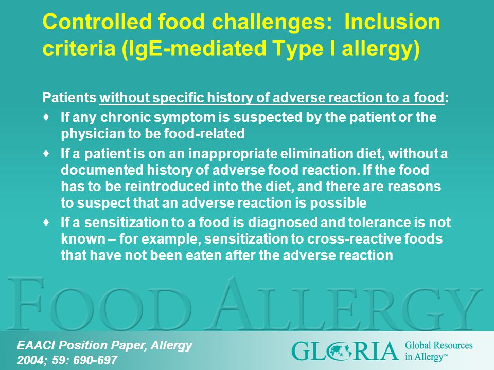 Patients without specific history of adverse reaction to a food:  If any chronic symptom is suspected by the patient or the physician to be food-related  If a patient is on an inappropriate elimination diet, without a documented history of adverse food reaction.