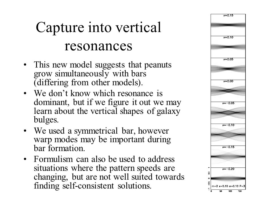 Capture into vertical resonances This new model suggests that peanuts grow simultaneously with bars (differing from other models). We don't know which