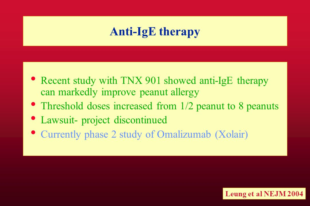 Anti-IgE therapy Recent study with TNX 901 showed anti-IgE therapy can markedly improve peanut allergy Threshold doses increased from 1/2 peanut to 8 peanuts Lawsuit- project discontinued Currently phase 2 study of Omalizumab (Xolair) Leung et al NEJM 2004