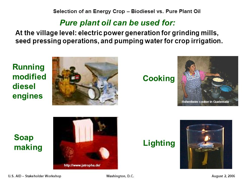 U.S. AID – Stakeholder Workshop Washington, D.C.August 2, 2006 Pure plant oil can be used for: Lighting Cooking Running modified diesel engines Soap m
