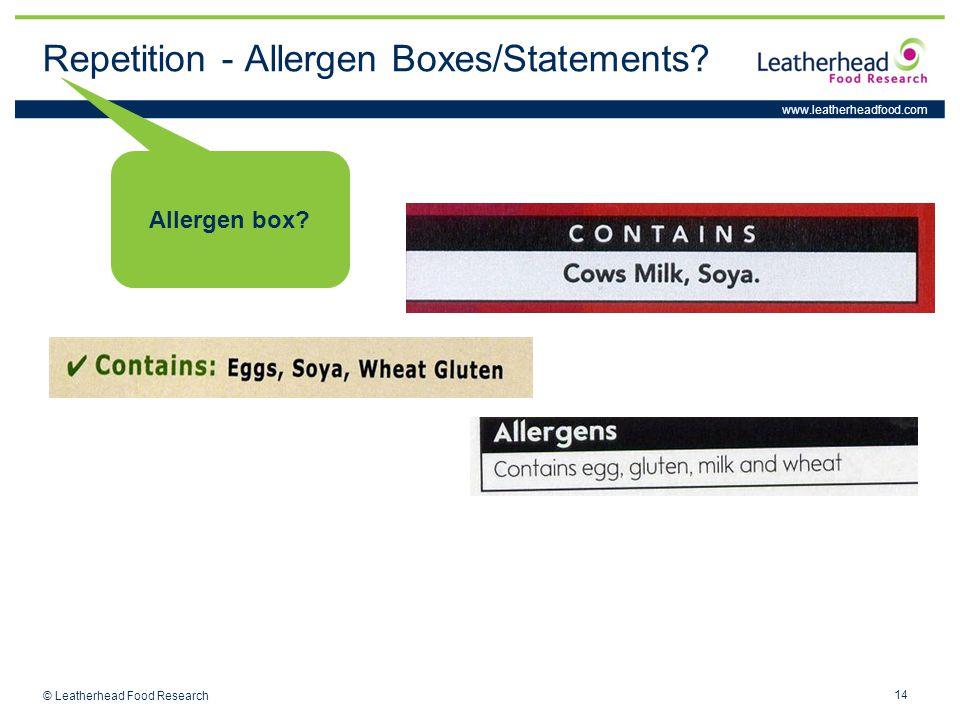 www.leatherheadfood.com 14 © Leatherhead Food Research Allergen box.