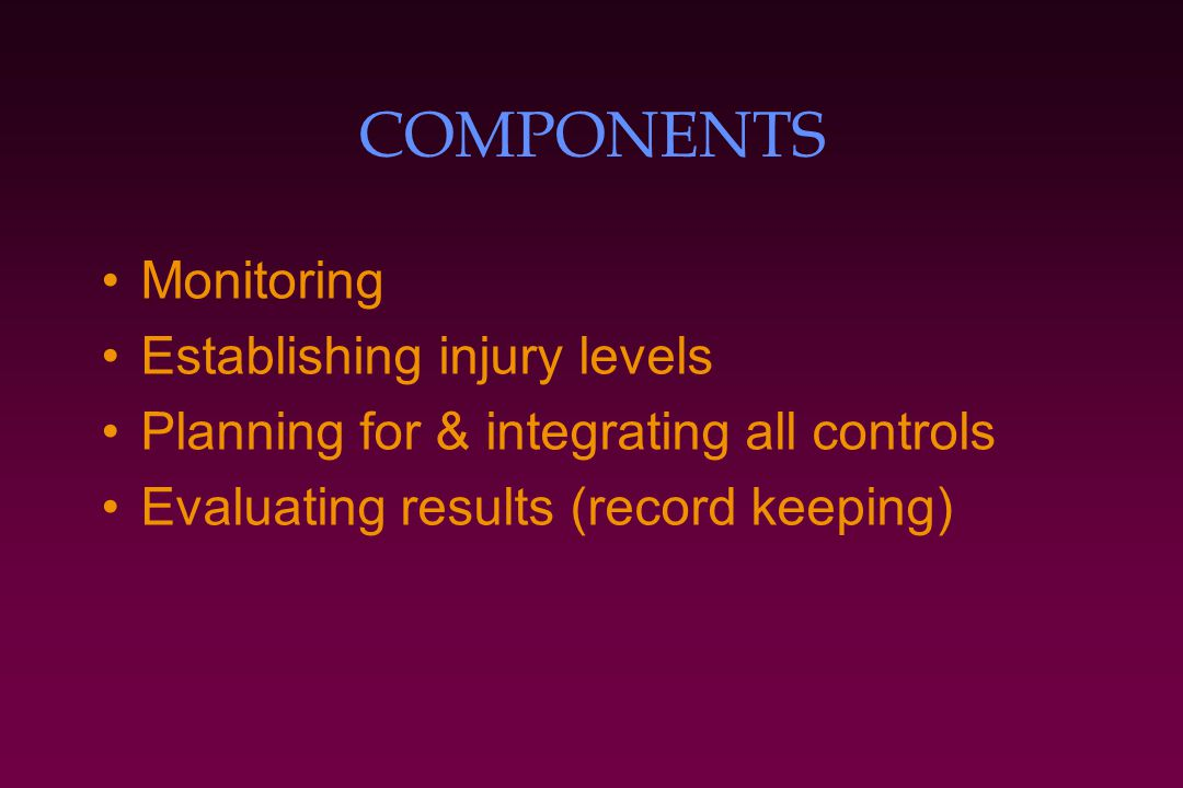 COMPONENTS Monitoring Establishing injury levels Planning for & integrating all controls Evaluating results (record keeping)