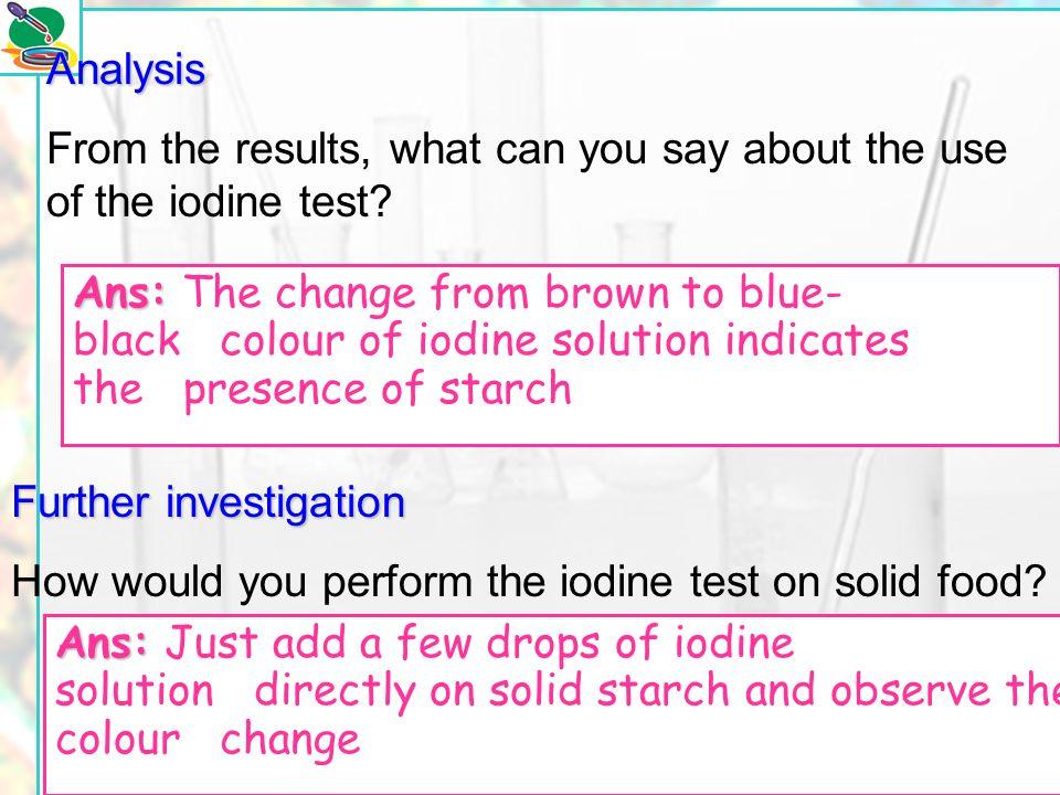 © Manhattan Press (H.K.) Ltd.20 Procedure 1.Add a drop of starch solution on a spot tile. 2.Add a drop of iodine solution to the starch solution. 3.No