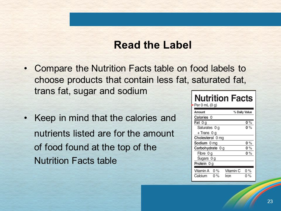23 Read the Label Compare the Nutrition Facts table on food labels to choose products that contain less fat, saturated fat, trans fat, sugar and sodium Keep in mind that the calories and nutrients listed are for the amount of food found at the top of the Nutrition Facts table