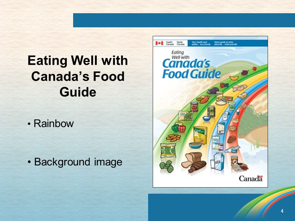 4 Eating Well with Canada's Food Guide Rainbow Background image