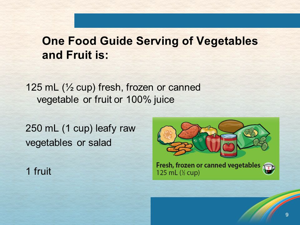 9 One Food Guide Serving of Vegetables and Fruit is: 125 mL (½ cup) fresh, frozen or canned vegetable or fruit or 100% juice 250 mL (1 cup) leafy raw vegetables or salad 1 fruit