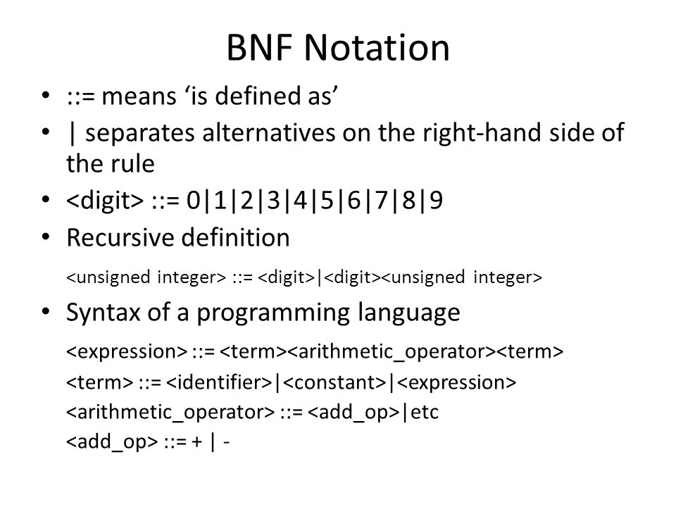 BNF Notation ::= means 'is defined as' | separates alternatives on the right-hand side of the rule ::= 0|1|2|3|4|5|6|7|8|9 Recursive definition ::= | Syntax of a programming language ::= ::= | | ::= |etc ::= + | -