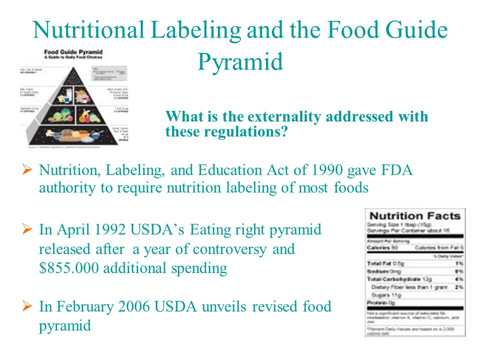 Nutritional Labeling and the Food Guide Pyramid What is the externality addressed with these regulations.
