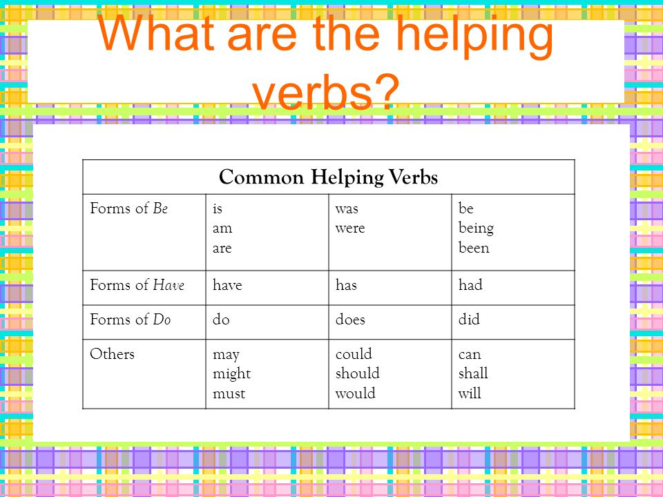 What are the helping verbs.