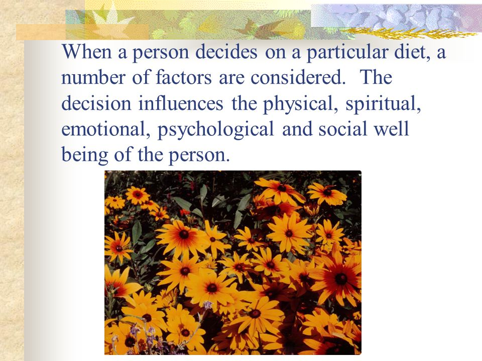 Each person then must decide for his or herself how important and feasible each factor is for them.