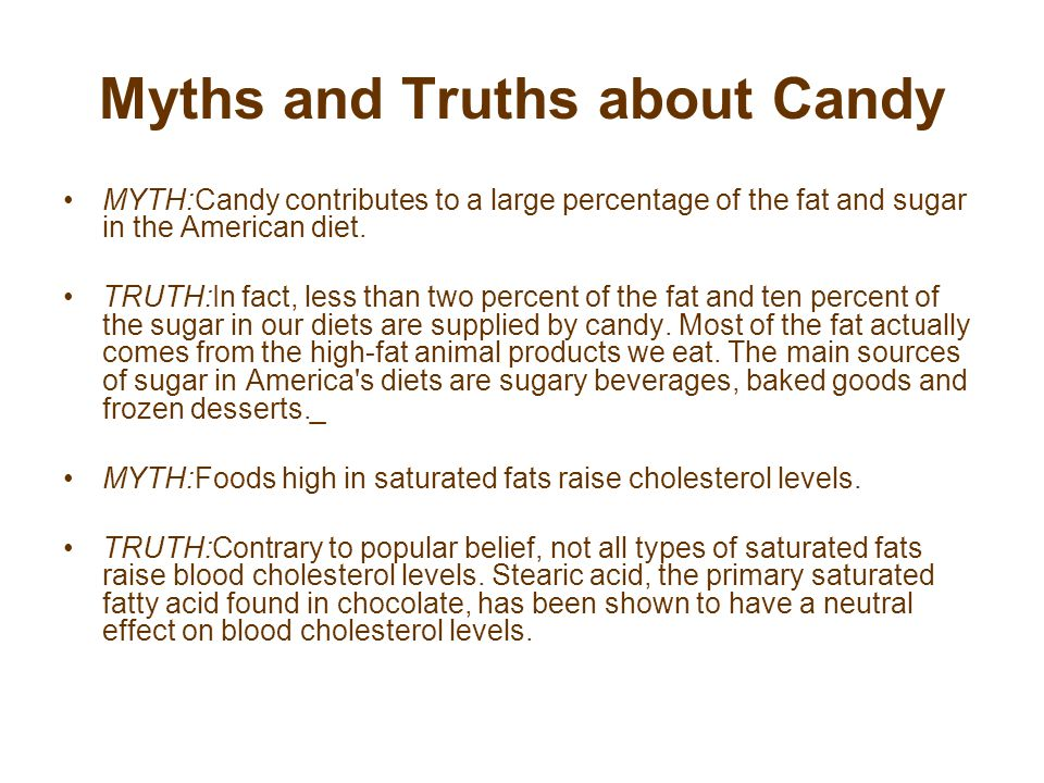 Myths and Truths about Candy MYTH:Candy contributes to a large percentage of the fat and sugar in the American diet.