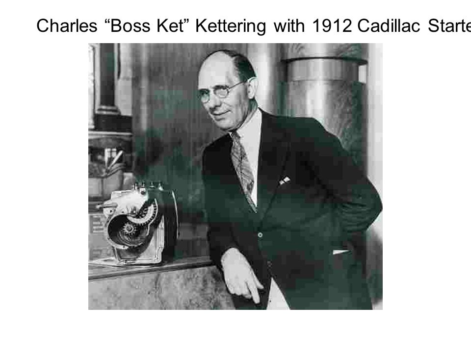 Charles Boss Ket Kettering with 1912 Cadillac Starter