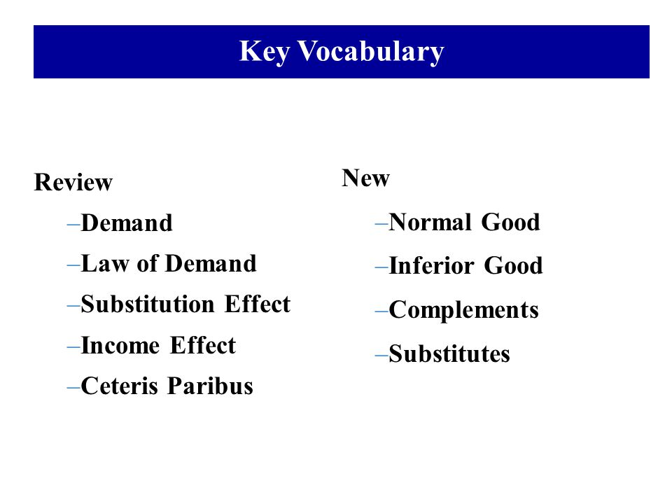 Key Vocabulary Review –Demand –Law of Demand –Substitution Effect –Income Effect –Ceteris Paribus New –Normal Good –Inferior Good –Complements –Substi