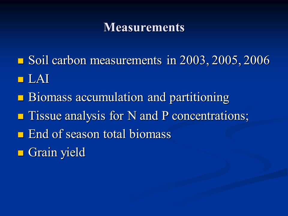 Measurements Soil carbon measurements in 2003, 2005, 2006 Soil carbon measurements in 2003, 2005, 2006 LAI LAI Biomass accumulation and partitioning B