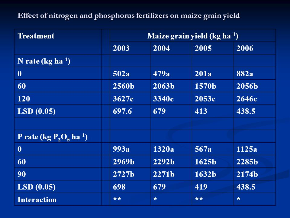 Effect of nitrogen and phosphorus fertilizers on maize grain yield TreatmentMaize grain yield (kg ha -1 ) 2003200420052006 N rate (kg ha -1 ) 0502a479