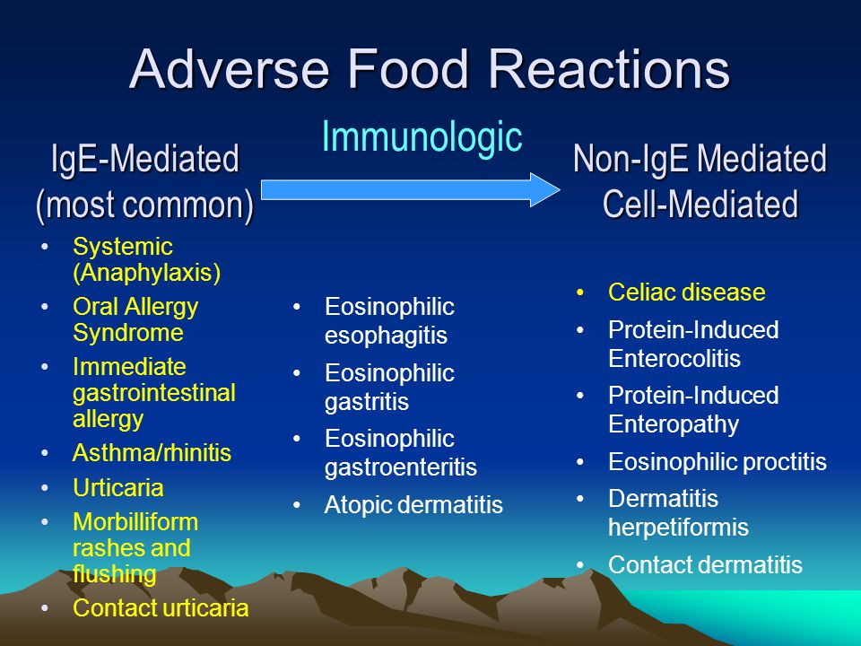 10 Natural history of food allergy Generally - reproducible reaction: same person, same food, same, similar or related symptoms May progress from dermatitis or hives to vomiting & wheeze to Asthma and Anaphylaxis ~ 85% of individuals with allergies to cows milk, egg, wheat, soy become tolerant by 3 yrs of age Allergy to peanut, nuts, seafood is typically permanent