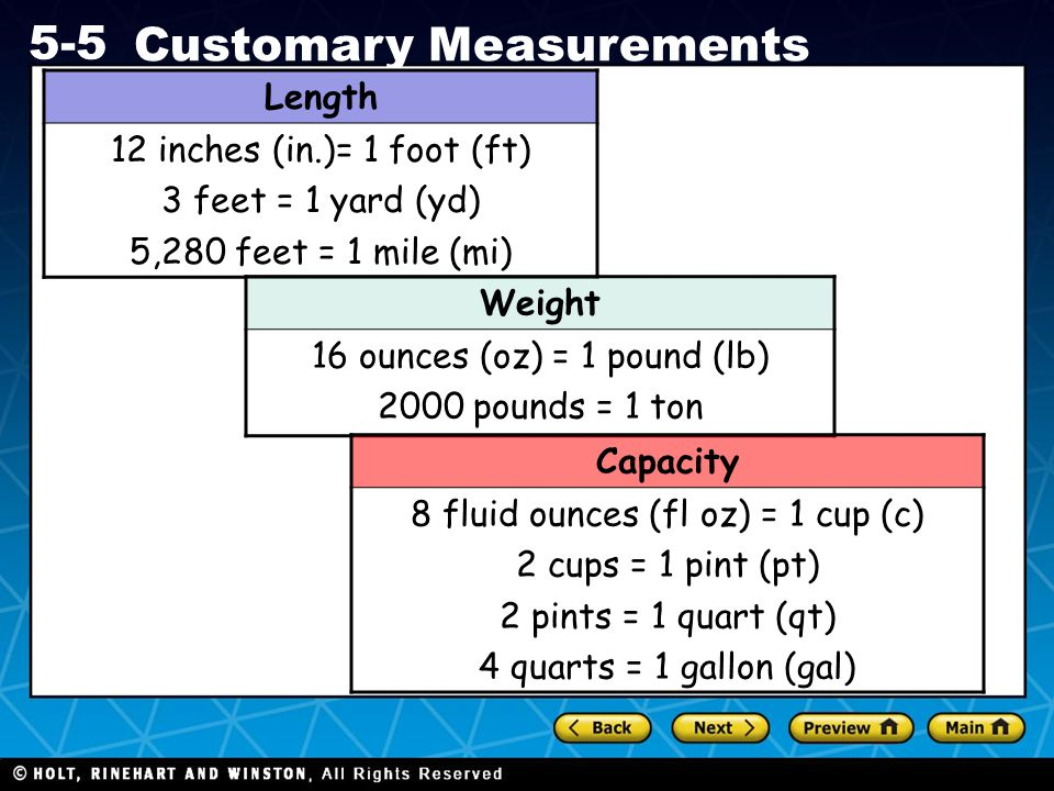 Holt CA Course 1 5-5 Customary Measurements Length 12 inches (in.)= 1 foot (ft) 3 feet = 1 yard (yd) 5,280 feet = 1 mile (mi) Weight 16 ounces (oz) =